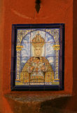 Virgin of the Shrine. Painted tile in the wall representing the image of the Virgin of the Shrine in Toledo, Spain royalty free stock image