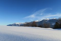 Virgin snow in Swiss alps Royalty Free Stock Photography