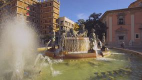 Virgin Square Fountain Valencia. Valencia Spain 25 December 2016: City Center Architecture Details with Virgin Square Fountain stock video footage
