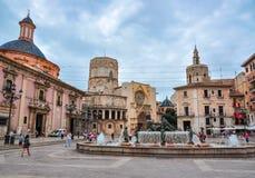 Virgin square Plaza de la Virgen in center of Valencia, Spain stock photo