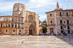 Virgin square and the Valencia cathedral in Valencia, Spain. Royalty Free Stock Photography