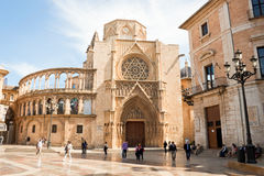 Virgin square and the Valencia cathedral in Valencia, Spain. Stock Images
