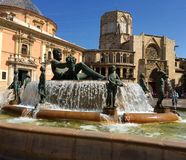 Virgin Square in Valencia, Spain  Plaza de la Virgen with a view of the Cathedral and Fountain. Right in the heart of Valencia's historic district lies the Stock Photos