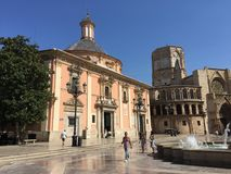 Virgin Square in Valencia, Spain  Plaza de la Virgen with a view of the Cathedral and Fountain. Right in the heart of Valencia's historic district lies the Royalty Free Stock Images