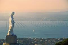 Sete on sundown, France. Virgin Statue Notre Dame de Salette, Mont Saint Clair, Sete, Herault, Languedoc-Roussillon, France royalty free stock photo
