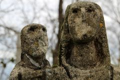 Virgin stone made by the sculptor Jorge Oteiza in Kukuarri mountain in basque town of Orio. `Virgin of Kukuarri` 1953. Donated by Jorge Oteiza to the stock photo