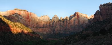 Virgin Towers Sunrise, Zion. The Virgin Towers captured shortly after sunrise in Zion National Park, Utah Stock Images