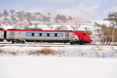 Virgin Train in the Snow Stock Image