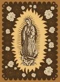 Virgin van Guadalupe uitstekende de afficheillustratie van de serigrafiestijl vector illustratie