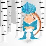 ` Virginal de la muchacha del cuento de hadas de la nieve rusa del ` en bosque del invierno stock de ilustración