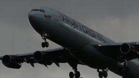 Virginatlantic Airbus A340 Landing at Narita Airport.  stock footage