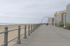 Virginia Beach Boardwalk on a Cold, Cloudy Day Royalty Free Stock Photos