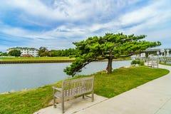 Virginia Beach Boardwalk, Virginia Beach E.U. - 12 de setembro de 2017 Rudee Inlet fotografia de stock