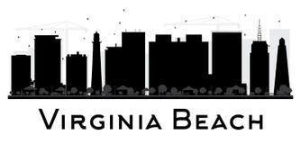 Virginia Beach City-horizon zwart-wit silhouet Stock Afbeeldingen