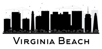 Virginia Beach City skyline black and white silhouette. Stock Images