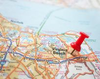 Virginia Beach. Closeup of a map of Virginia Beach, Virginia and red pin Stock Photography