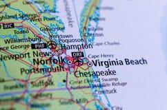 Virginia Beach, la Virginie sur la carte Photos libres de droits
