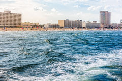 Virginia Beach from the ocean. View of Virginia Beach and hotels from the ocean Royalty Free Stock Image