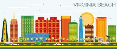 Virginia Beach Skyline avec les bâtiments de couleur et le ciel bleu Illustration de Vecteur