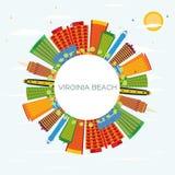 Virginia Beach Skyline avec les bâtiments de couleur, le ciel bleu et la copie S Illustration de Vecteur