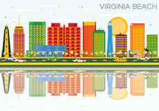 Virginia Beach Skyline with Color Buildings, Blue Sky and Reflec. Tions. Vector Illustration. Business Travel and Tourism Concept with Historic Architecture Stock Illustration