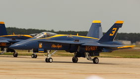 Virginia Beach, VA - May 17:US Navy Blue Angels in F-18 Hornet planes perform in air show routine in Va beach, VA on May 17, 2010. Royalty Free Stock Photos