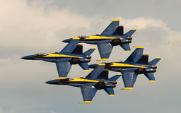 Virginia Beach, VA - May 17:US Navy Blue Angels in F-18 Hornet planes perform in air show routine in Va beach, VA on May 17, 2010. Royalty Free Stock Photography