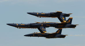 Virginia Beach, VA - May 17:US Navy Blue Angels in F-18 Hornet planes perform in air show routine in Va beach, VA on May 17, 2010. Stock Photography