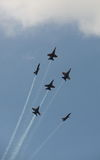 Virginia Beach, VA - May 17:US Navy Blue Angels in F-18 Hornet planes perform in air show routine in Va beach, VA on May 17, 2010. Blue Angels are the oldest Royalty Free Stock Photography