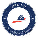 Virginia circular patriotic badge. Grunge rubber stamp with USA state flag, map and the Virginia written along circle border, vector illustration Royalty Free Stock Photography