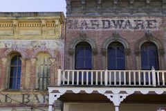 Virginia City Hardware. A couple old buildings in Virginia City Nevada royalty free stock photo