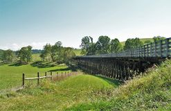 Virginia Creeper Trail. Holston Trestle is just one of 47 trestle bridges crossed by bike riders, hikers and horseback riders along the Virginia Creeper Trail royalty free stock image