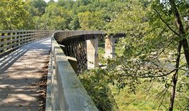 Virginia Creeper Trail. Holston Trestle is just one of 47 trestle bridges crossed by bike riders, hikers and horseback riders along the Virginia Creeper Trail royalty free stock photo