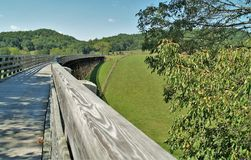 Virginia Creeper Trail. Holston Trestle is the longest of 47 trestle bridges crossed by bike riders, hikers and horseback riders along the Virginia Creeper Trail royalty free stock photography