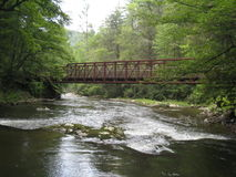 Virginia Creeper Trail. One of the steel trestles crossing Whitetop Laurel Creek along the Virginia Creeper Trail (VCT). The VCT, a 34 mile rail trail running stock image