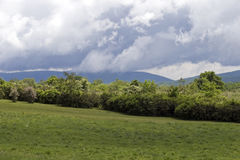 Virginia Field, Mountains, Clouds Royalty Free Stock Photo