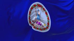284 Virginia Flag Waving en fondo inconsútil continuo del lazo del viento stock de ilustración