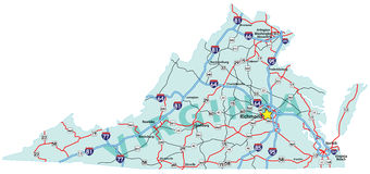 Virginia Interstate Map Stock Photo