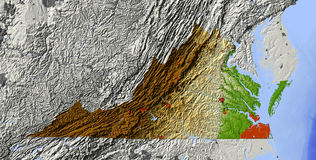Virginia, shaded relief map Royalty Free Stock Image