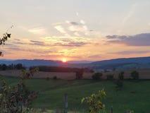 Virginia Shenandoah dalsolnedgång Oktober arkivbild