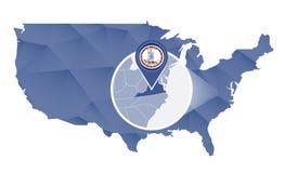 Virginia State ampliou no mapa do Estados Unidos ilustração stock