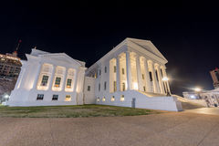 Virginia State Capitol - Richmond, Virginia. The Virginia State Capitol at night. Designed by Thomas Jefferson who was inspired by Greek and Roman Architecture royalty free stock photography