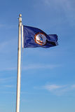 Virginia state flag against a blue sky vertical Royalty Free Stock Photography