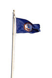 Virginia state flag against white. Flag of the Commonwealth of Virginia flying from a white pole isolated against a white background royalty free stock photography
