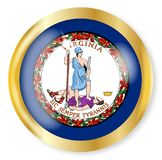 Virginia Flag Button. Virginia state flag button with a gold metal circular border over a white background Royalty Free Stock Image