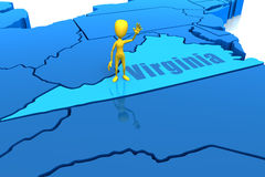 Virginia state outline with yellow stick figure Royalty Free Stock Photo