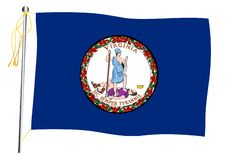 Virginia State Waving Flag And Flagpole stock photography