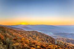 Virginia sunset. Blue ridge mountain sunset fall Royalty Free Stock Photography