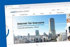 GMO Internet Group - Internet for Everyone website homepage. royalty free stock photo