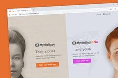 MyHeritage family tree and ancestry website homepage. Virginia, USA - November 13, 2018: MyHeritage family tree and ancestry website homepage royalty free stock photography